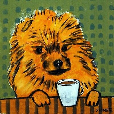 pomeranian coffee cafe dog  art tile coaster picture gifts gift coaster tiles