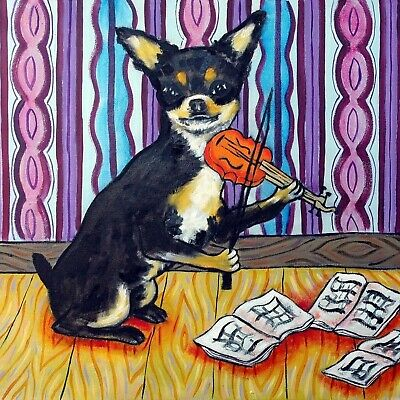 CHIHUAHUA violin DOG picture PET GIFT art tile coaster