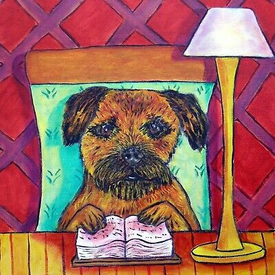 border terrier reading a book picture dog art tile
