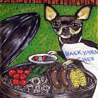 CHIHUAHUA COOK OUT GIFT ceramic dog art tile coaster