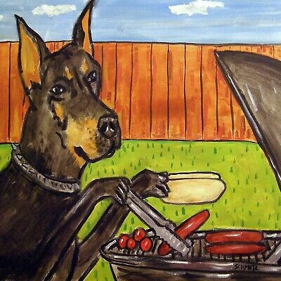 Doberman Pinscher COOK OUT ANIMAL pet dog art tile  coaster gifts artwork