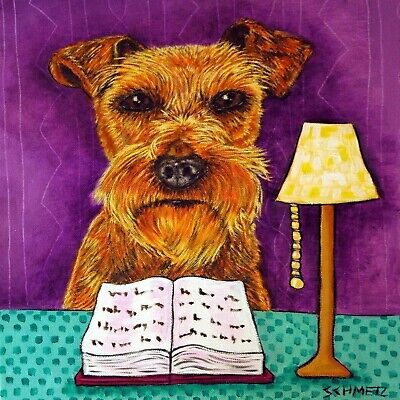 IRISH TERRIER reading a book dog gift art tile coaster