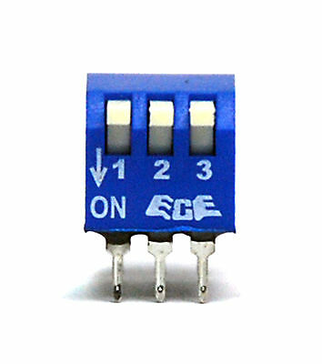 50pc 3P Edge Actuated Side Piano Type DIP Switch pitch=2.54x7.62mm ECE EPS103AZ