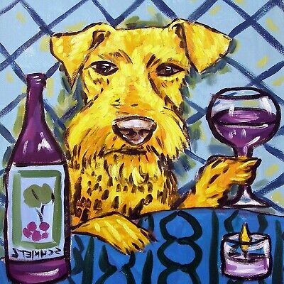 airedale terrier wine coaster animal dog art tile
