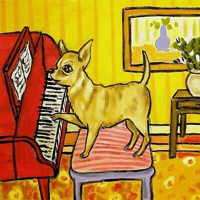 CHIHUAHUA piano DOG picture PET GIFT art tile coaster