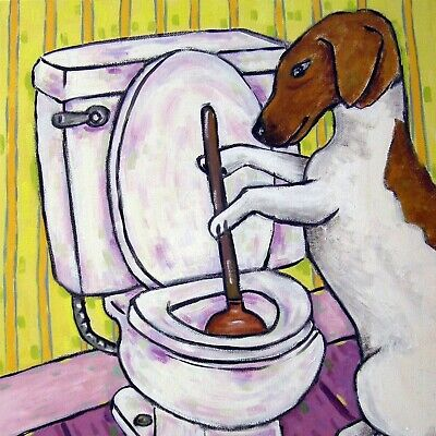 jack russell terrier PLUNGING a TOILET dog art tile