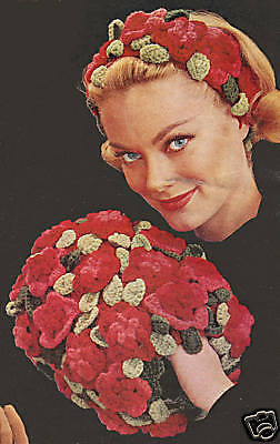 Vintage Crochet PATTERN to make Flower Floral Leaf Hair Head Band Hat Muff