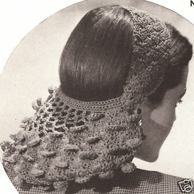 Vintage Crochet PATTERN to make Petal Snood Headband Hair Band Net
