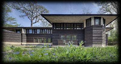 Architectural plans, Frank Lloyd Wright Prairie Style hillside house drawings