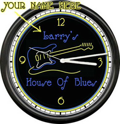 Neon Guitar House Of Blues Music Sign Wall Clock #400