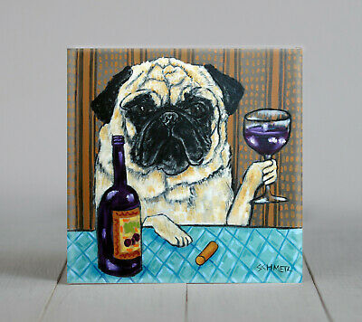 PUG WINE picture animal ceramic DOG pet art tile gift