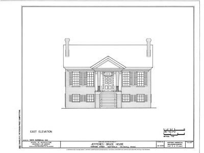 Virginia Palladian house plans, detailed blueprints, Traditional Southern Style