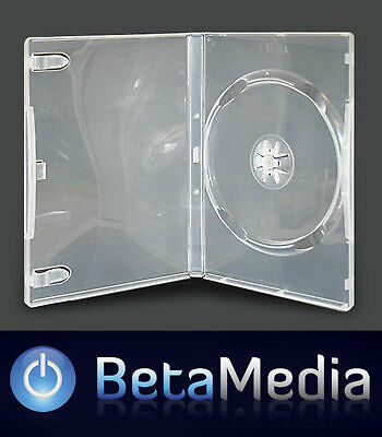 100 x Single Clear 14mm Quality CD / DVD Cover Cases - Standard Size DVD case