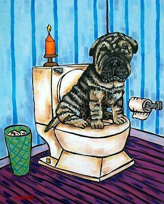 Shar Pei in bathroom painting dog art print 8 x10