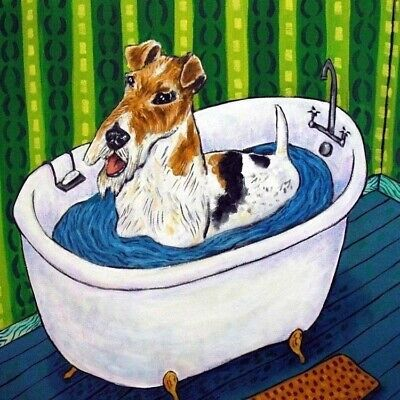 FOX TERRIER bath ceramic  picture dog art tile coaster