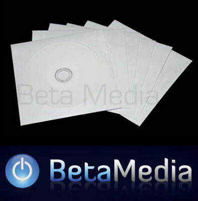 1000 Paper CD / DVD Sleeves - HIGH QUALITY White Envelopes Plastic Window 120GSM