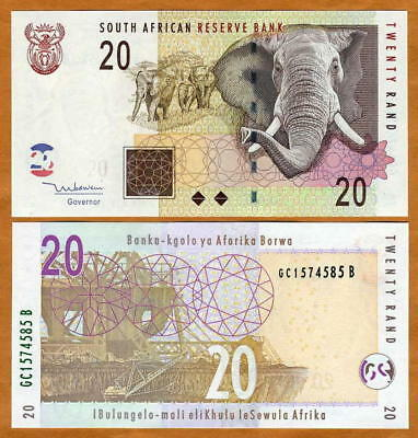 South Africa, 20 rand, ND (2005), P-129, UNC   Elephant