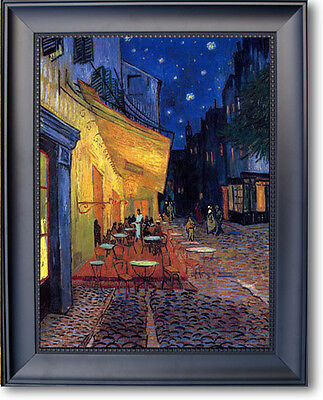 Van Gogh CAFE TERRACE Stretched Canvas Black Midnight Frame Giclee Repro 20 x 16