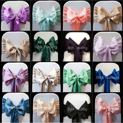 50 SATIN SASHES CHAIR BOW SASH WIDER 22cm SASHES FOR A FULLER BOW UK SELLER