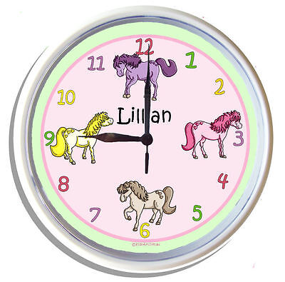PERSONALISED Wall Clock PONY by KIDS ART 25cm