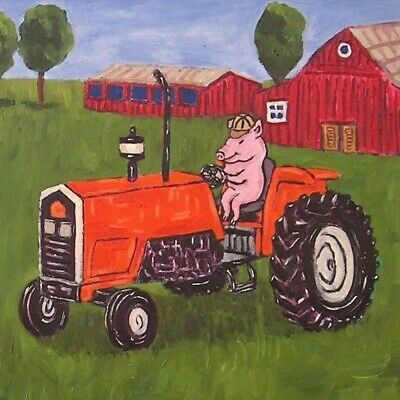 PIG ON A TRACTOR picture animal art tile coaster gift