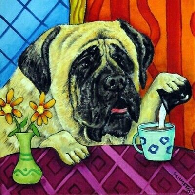 mastiff at the coffee shop cafe dog art tile coaster