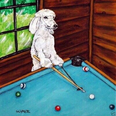 Poodle Playing Pool Billiards dog  art tile coaster coasters tiles gifts gift