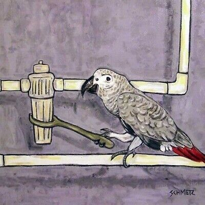 African Grey Parrot Plumber bird art tile