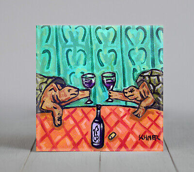 two TURTLE toast at the wine bar art tile coaster gift tiles coasters gifts