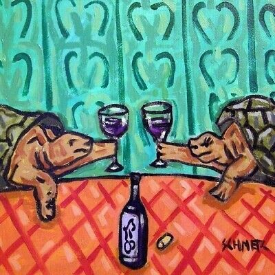 two TURTLE toast at the wine bar art tile coaster gift
