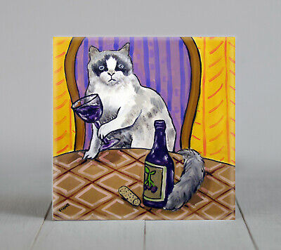 rag doll wine bar picture animal coaster cat art tile gift gifts