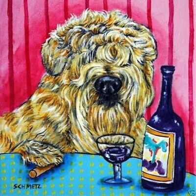 Soft Coated Wheaten Terrier wine bar dog art tile coaster gifts