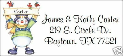 ~SNOWMAN WITH BANNER~  Lazer Address Labels.