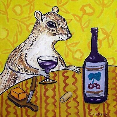 GREY SQUIRREL at the wine bar art tile coaster