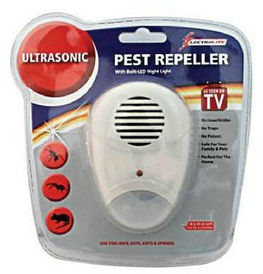 Ultrasonic Mouse Mice Rat Spider Pest Repeller And Night Light  Plug In