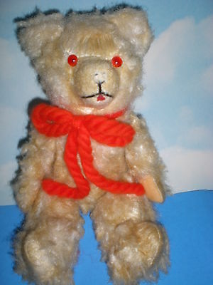 "12"" Vintage Grey /White frosted look Carnival Bear with red eyes"