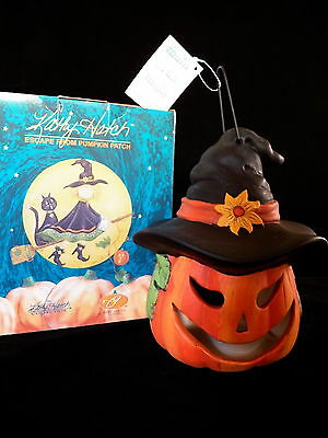 "6"" Kathy Hatch Halloween Jack-O-Lantern Witch Candle Holder Luminary NEW IN BOX"