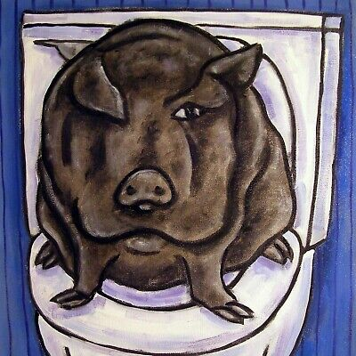 pot belly pig in the bathroom art tile coaster gift