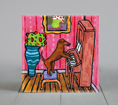IRISH TERRIER piano ceramic dog gift art tile coaster