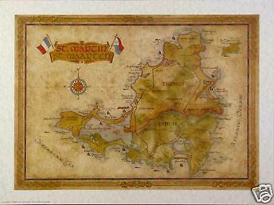 Antique Style ST. MARTIN  MAP