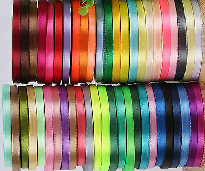 50 ROLLS OF New SATIN RIBBON, 50 Colours, 25 YARDS Each Size 6MM RRP £45.00