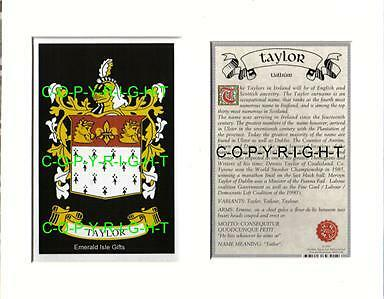 Taylor Heraldic Mounted Coat of Arms Crest + History