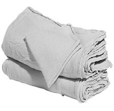 "100 industrial shop cleanup rags / towels white 14''x14"" professional grade"