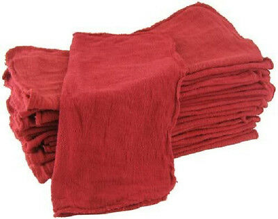 """100 Industrial Shop Cleanup Rags / Towels Red 14''x15"""" Professional Grade"""