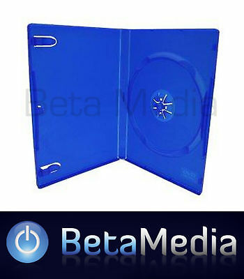 50 x Single Blue 14mm Quality CD / DVD Cover Cases - Standard Size PS2 Case