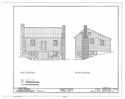 House plans for a traditional Saltbox in wood and stone
