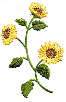 "Sunflower - Sunflower Group - Embroidered Iron On Applique Patch - 7 3/8""H"