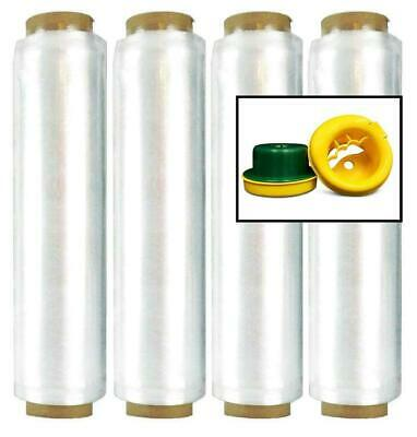 "18"" 1476' 28 Ga Clear Hand Wrap 4 Rolls Pre-Stretch with Hand Saver Dispenser"