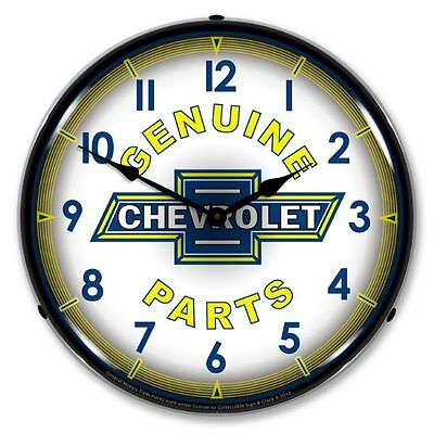 New Chevy Parts Retro Backlit Lighted Clock - Free Shipping & Handling*