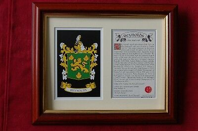 REYNOLDS Family Framed Heraldic Coat of Arms Crest + History